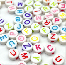 200 WHITE Beads with COLOURFUL Random Alphabet/ Letter 7mm hole 1.5mm GORGEOUS