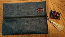 New Makeup Junkie Navy Blue Embossed Faux Leather Zippered Bag