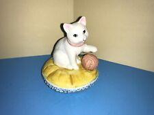 1987 Schmid Musical Cat Kitten on Cushion Ball Yarn Japan 3 Blind Mice Figurine