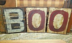 FALL. BOO  Metal tins Letter Word Sign  Rustic Farmhouse look Halloween