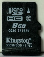 Kingston 8GB class 10 micro SDHC memory card.