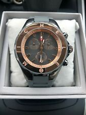 Michele Tahitian Rose Gold Gray Silicone Chrono Watch MWW12F000064, NEW w Tag