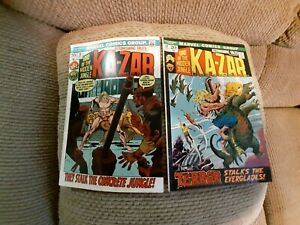 "Lot of 2 Astonishing Tales ""KA-ZAR"" # 12 FN- & # 15 FN+, 1974, Marvel Comics"