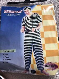 Prisoner Man Adult Fancy Dress Costume. One Size.