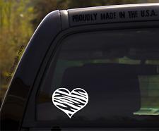 Heart Decal with Zebra Stripes - Vinyl Car Sticker/Decal
