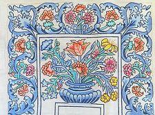 Large Vintage Needlepoint Canvas Floral Flower Urn 1978 Signed