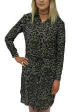 Animal Print Long Sleeve Mini Shirt Dresses