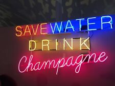 """New Save Water Drink Champagne Acrylic Bar Decor Pub Poster Neon Light Sign 24"""""""