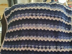 New! Handmade Crochet Blanket Throw Afghan - dark blue, blue, white