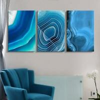 """Wall26-3 Panel Blue Agate Patterns Gallery - Canvas Wall Art- 16""""x24"""" x 3 Panels"""