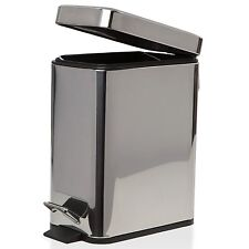 New 5 Litre Slim Line  Bin Hard Steel Kitchen Rubbish Waste Dust Bin 172587