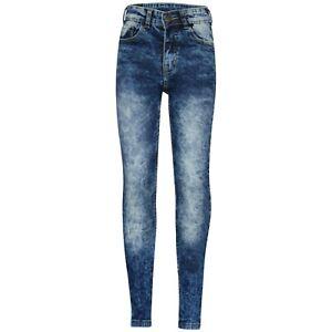 Bambine Elasticizzato Jeans Blu Scuro Denim Skinny Pantaloni Biker Fit 5-13
