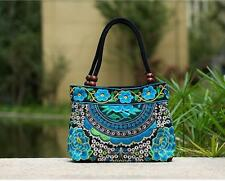 Blue Flowers Embroidered Lady Womens Handbag Shoulder Bags Tote Purse
