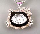 LTD Edition Silver Retro Eames Chic Pendant Necklace Ladies Enamel Crystal Watch