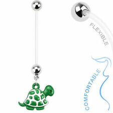 1pc Bio Flex Pregnancy Green Turtle Dangle Belly Ring Navel Naval Maternity (w4)
