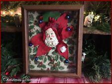 Diorama Vtg Santa Claus Red Chenille Trim Poinsettia Xmas Ivy Paper & Wood Frame