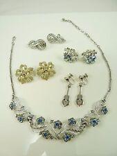 Mixed Lot of CORO Jewelry Rhinestone Necklace & Clip Earrings
