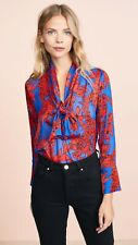 Alice + Olivia Gwenda Tie Neck Fancy Floral Blouse Top $295 Sz Small 4 6