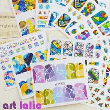 12 Designs Geometry Water Transfer Nail Stickers Fashion Full Cover Image Decals