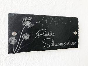 Türschild Namensschild Klingelschild Schiefer inkl Gravur Pusteblume 7x15-30x50