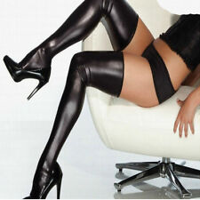 Women's Black Metallic Wet Look Shiny Stockings Hold Ups Shiny Thigh High Tights