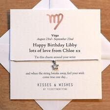 Personalised Handmade VIRGO BIRTHDAY Wish Bracelet - Zodiac Sign, Horoscope