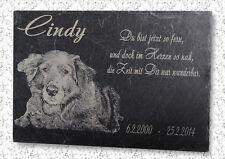 Ihr Foto -- Grabstein Tierurne Grabplatte Hund Katze Schiefer Grab 22x16cm