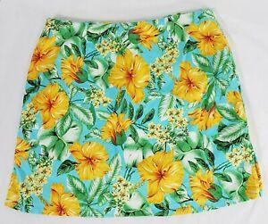 Pappagallo Floral Golf Skirt Skort Women's Petite Sze 16 Cotton/Spandex Tropical