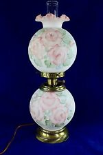 Fenton Hand Painted Pink Roses Opal Satin GWTW Table Lamp Signed D. Barlour