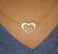 14k Yellow Gold Plated 925 Sterling Silver MOM HEART Mother's Day Necklace Promo