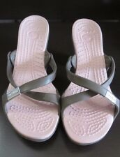 b40a57aa2 New ListingCROCS~Cyprus Strap Sandals~Platform Wedge Heels~GRAY with PINK ~  Women Size 9