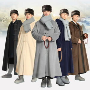 5 Color Winter Buddhist Meditation Shaolin Monk Kung Fu Cloak Robe Gown Cape