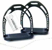 HORSE RIDING STIRRUPS ALUMINUM LIGHT DURABLE BLUE 44 CRYSTALS AMIDALE BNWT