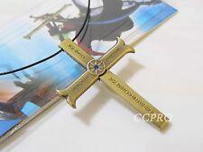 Anime One Piece Dracule Mihawk's Cross Shape Knife & Scabbard Pendant Necklace