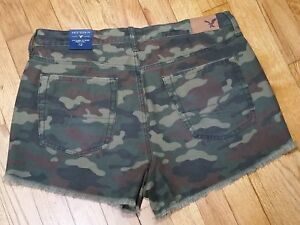 American Eagle Vintage Hi Rise Festival Shorts Size 10 Camo Green New With Tags