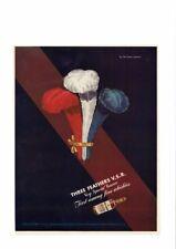 VINTAGE 1942 WAR BONDS THREE FEATHERS WHISKY WHISKEY V.S.R. BOURBON AD PRINT ART