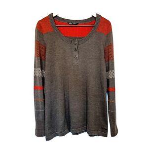WOOLRICH XL Women's Sweater Gray Red Henley Top ~ Great Valentine's Shirt