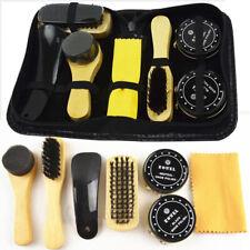7en1 Case Chaussure Botte Cuir Vernis Noir & Neutre Cirage Brosses Nettoyage Kit
