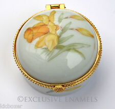 Alastor Enamels Daffodil Flowers Round Hinged China Trinket Box