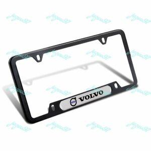 For 1PCS VOLVO Black White Stainless Steel Metal License Plate Frame Brand New