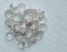 100 Metall Perlenkappen ca 10 x 4 mm filigran silberfarbig A1078