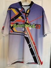 Brunswick Turbo Grips Boom Apparel Medium 1/4 Zip Mock Bowling Jersey Purple