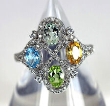 Designer 14K Gold Diamond Citrine Peridot Topaz Amethyst Ring