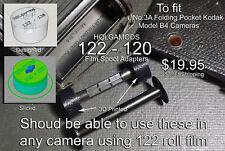 122  to 120 spool adapters for No.3A Folding Pocket Kodak Model B-4 Camera