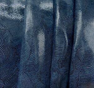 Lederhaut  Rindleder Blau abstraktes Muster Velours S190332208 versch. Größen