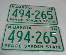 1974 North Dakota Automobile License Plates Matching Pair