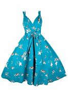 New Ladies Kushi Vintage Retro 50s Swing WW2 Rockabilly Party Dress Size 12-20