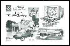 BELGIEN SD SCHWARZDRUCK 2001 500 JAHRE POST COMPUTER FLUGZEUG AUTO //z2308