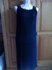 Vintage Slip Dress Sheer Pleated Concertina Art Deco Flapper Black 10/12 S/M