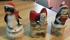 Lot Of 3 Porcelain Snowmen Limoge Trinket Boxes